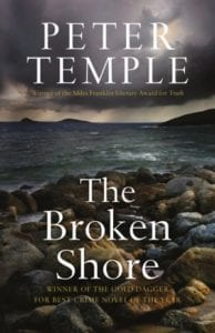 The cover of The Broken Shore by Peter Temple, an example of dogs in literature